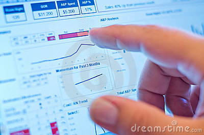 Finger touching graph on screen