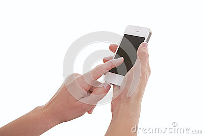 Finger Touching Smartphone Screen