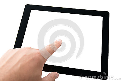 Finger touching tablet pc with blank screen