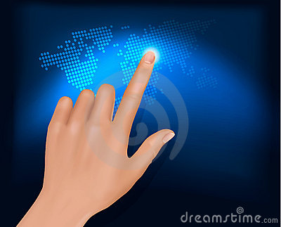 Finger touching world map on a touch screen. Vecto