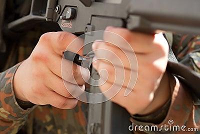 Finger on a trigger of a gun