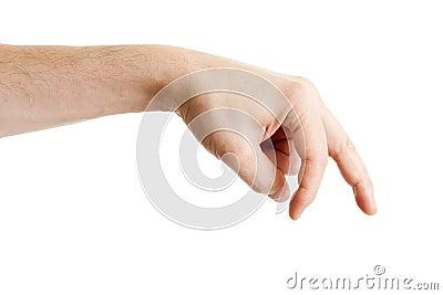 Fingerhandmanlig som visar att gå