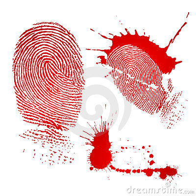 Free Fingerprint And Blood Drops Royalty Free Stock Images - 4342289