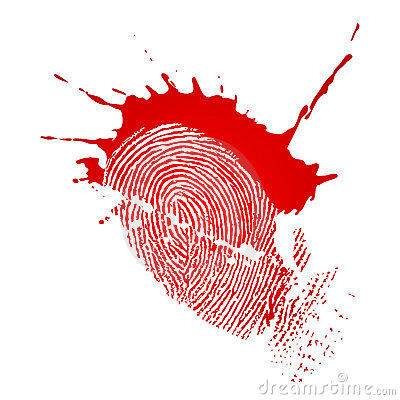 Fingerprint and blood drops