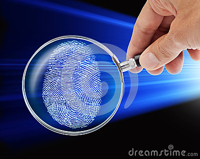 Fingerprint Hand Magnifying Glass Security