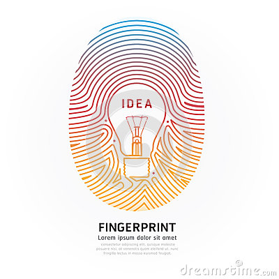 fingerprint lightbulb color vector design illustration