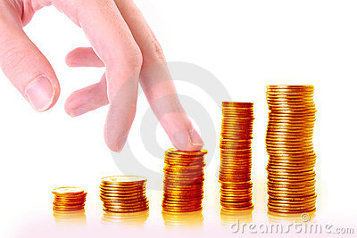 Fingers climbing coin stacks