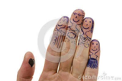 Fingers family isolated on white