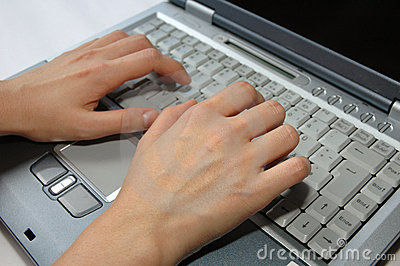 Fingers On Laptop