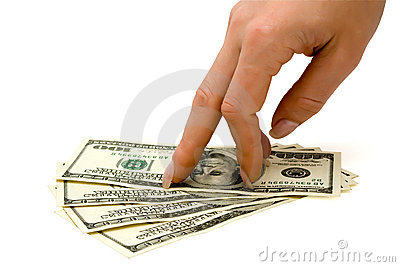 Fingers stepping on money