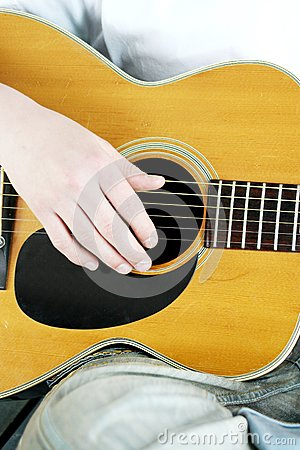 Fingers Strum Acoustic Guitar