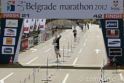 Finish on half marathon Editorial Photo
