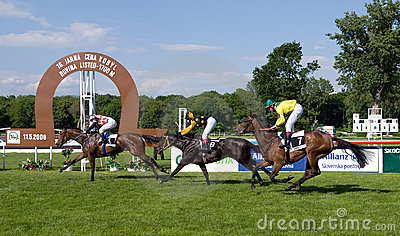 Finish of the horse race Editorial Stock Image
