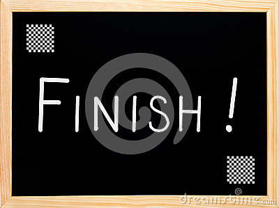 Finish text written on blackboard, chalkboard