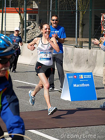 Finish of the Vancouver marathon Editorial Photography