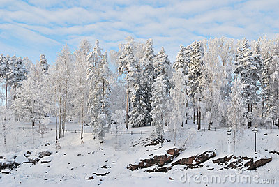 Finland. Canyon  Imatrankoski  in winter