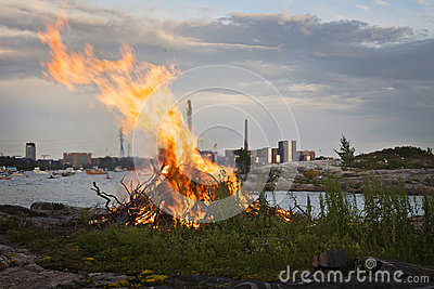 Finland: Mid summer bonfire Editorial Image