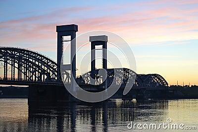 Finland Railway bridge at dawn