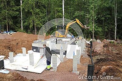 Finland: Sauna Foundation - Working Cycle  Editorial Photo