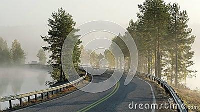 Finlands landskap med smal bilväg genom sjön stock video