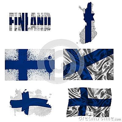 Finnische Markierungsfahnencollage