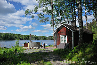 Finnish sauna and hot tub