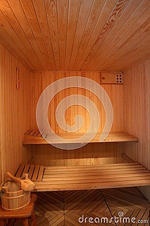 Finnish sauna interior.