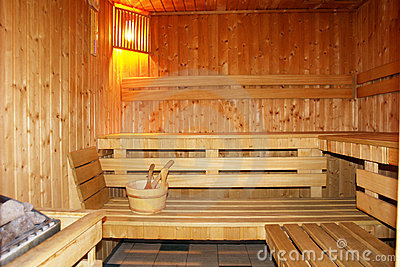 Finnish sauna interior.