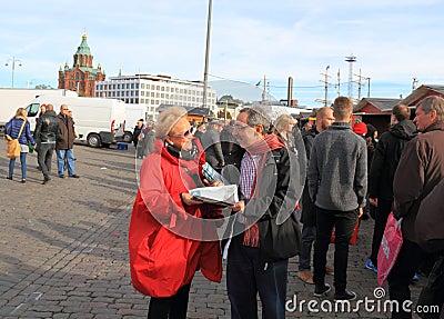 Finnland/Helsinki: Famous Politician Campaigning Editorial Stock Photo