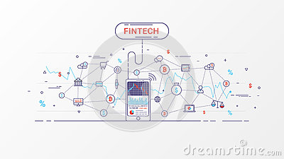 Fintech and Blockchain technology info graphic. Vector Illustration