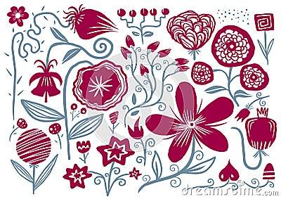 Fiori disegnati a mano fotografia stock libera da diritti for Fiori disegnati