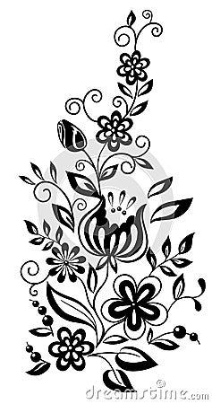 Cornici Fiori Stilizzati In Bianco E Nero