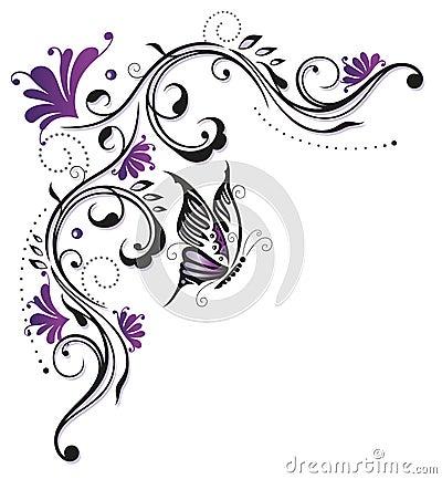 Fiori, farfalla, astratta