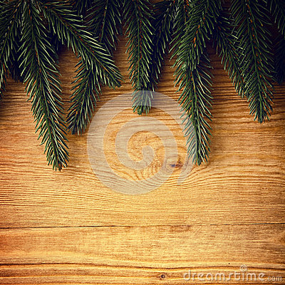 Fir branches on wood