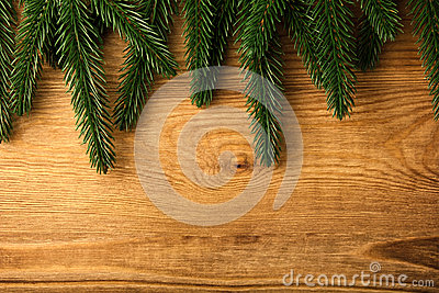 Fir tree branches on wood