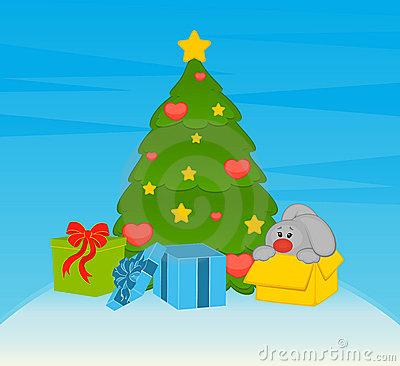 Fir-tree with bunny and boxes