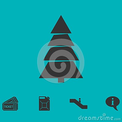 Fir tree icon flat Vector Illustration