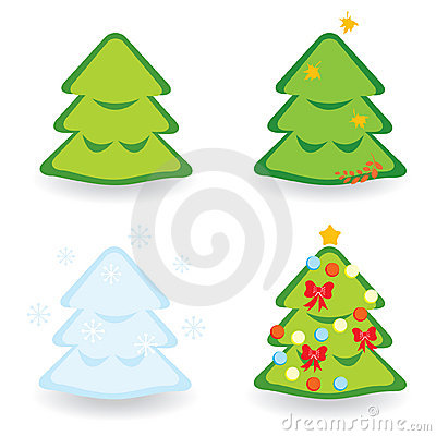 Fir-trees collection for different seasons