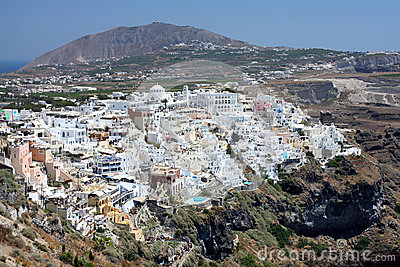 Fira the capital of Santorini island