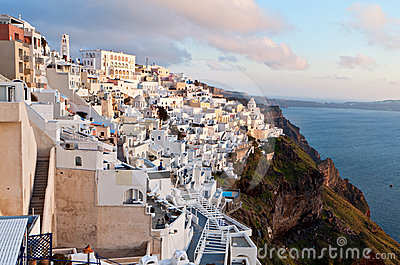 Fira city at Santorini island in Greece