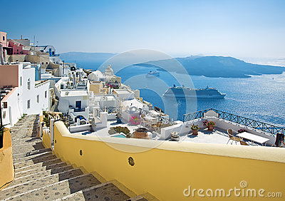 Fira panorama with caldera view