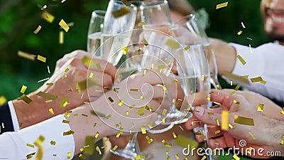 Firar med champagne arkivfilmer