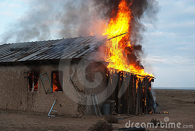Fire in an abandoned house