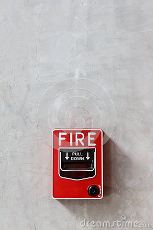 Fire alarm box on wall background