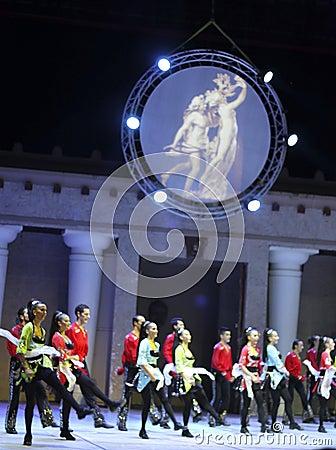 Fire of Anatolia. Performance in the amphitheater of Anatolia. Editorial Stock Photo