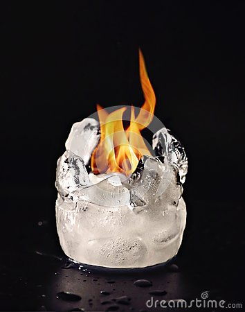 Free Fire And Ice Cubes Melting Cold Hot Stock Photos - 103470213
