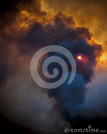 Free Fire And Smoke In Sunset Stock Photos - 108375893