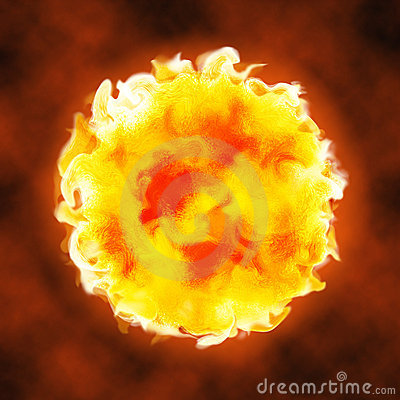 Fire Ball Explosion Sphere Hot Licking Flame Stock Image ...