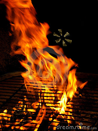 Fire on BBQ Grill