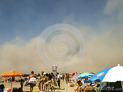 Fire on the beach Editorial Stock Image